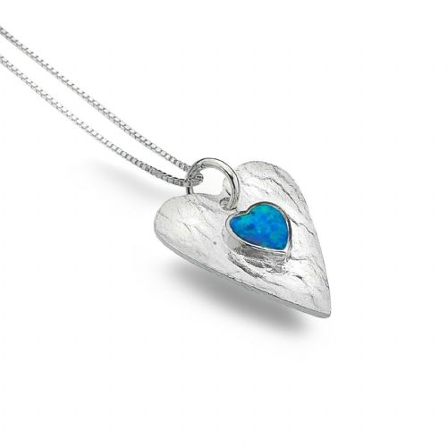 Blue Opal Heart Pendant Sterling Silver Necklace 925 Hallmark All Chain Lengths